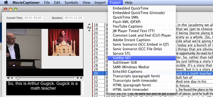 exporting SRT caption file from MovieCaptioner