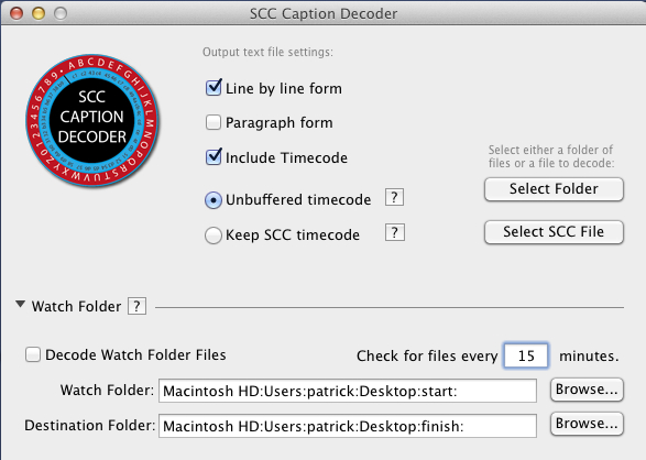 SCC Caption Decoder interface