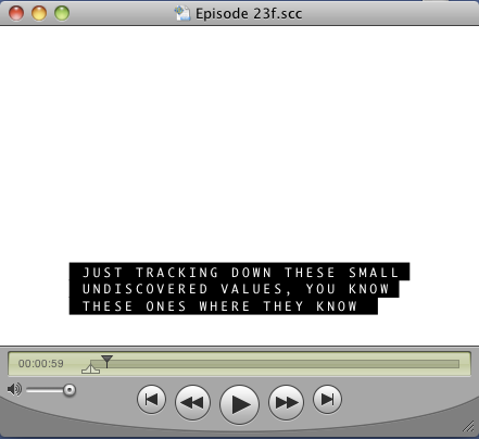 A working SCC file in QuickTime Player