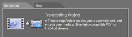 select new transcoding project from Expression Encoder startup screen