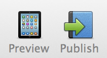 Click the Preview icon at the top of the iBooks Author interface.