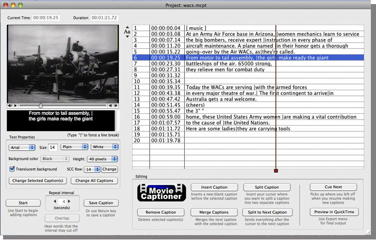 MovieCaptioner Closed Captioning Software for Mac and