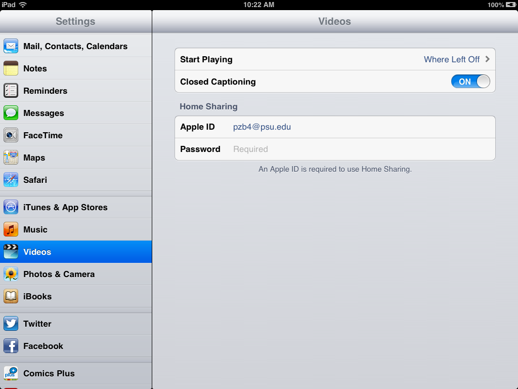 iPad video settings with closed captioning enabled
