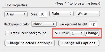 changing the SCC row in the MovieCaptioner text properties area