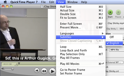 subtitles menu in Quicktime